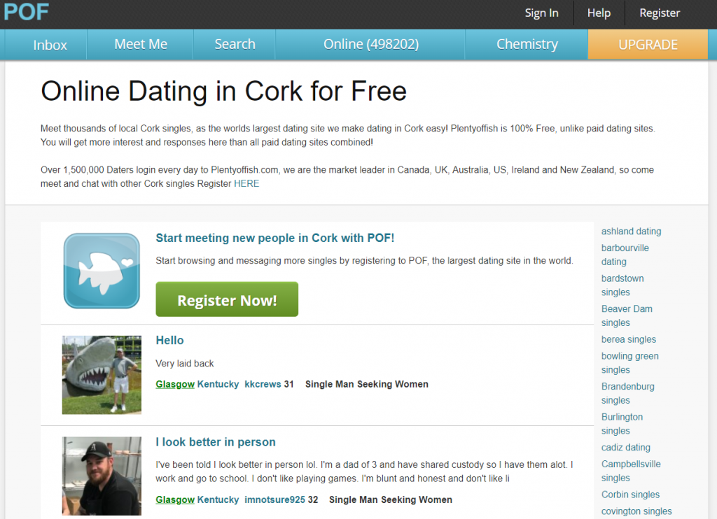 Plenty Of Fish Cork Dating Login, Find People From Cork